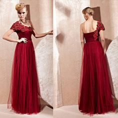 Dark Red Tulle Pleated Full Length Masquerade Ball Gown Evening Dresses SKU-122367