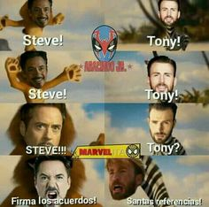 Read capitulo 16 from the story La hija de Tony Stark(peter parker y tu) by --__Only__-- with reads. Marvel Jokes, Funny Marvel Memes, Avengers Memes, Marvel Dc Comics, Marvel Heroes, Funny Jokes, Mundo Marvel, Troll, Hilarious Memes