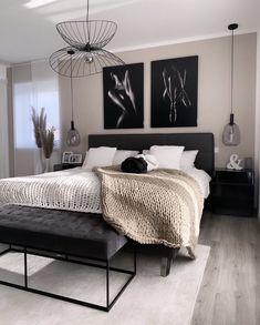 Home Room Design, Home Design Decor, Interior Design Living Room, Ikea Bedroom Design, Room Ideas Bedroom, Home Decor Bedroom, Living Room Decor, Home Decor Inspiration, Black And Cream Bedroom