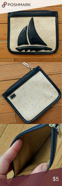 "Maxx sailboat straw cosmetics case Never used with no stains, rips, etc.  Interior is immaculate!  It used to be attached to a purse, and there is a small piece of leather on the back where it has been snipped free.  This doesn't impact the appearance or function of the case.    Measures about 6.5"" x 5.5"".  Price is firm and extremely reasonable, but click ""add to bundle"" to save 10% on your purchase of 2+ items! Maxx  Bags Cosmetic Bags & Cases"