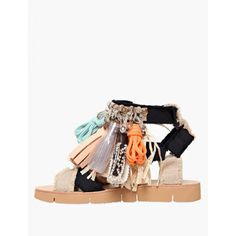 Msgm 2016 Fringed Canvas Sandals ($388) ❤ liked on Polyvore featuring shoes, sandals, canvas shoes, msgm, tassel sandals, tassel shoes and canvas sandals