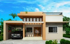 Meet Kassandra, two storey house design with roof deck. The ground floor has a total floor area of 107 square meters and 30 square meters at the second floor Home Design, House Roof Design, Two Story House Design, Small House Design, Two Storey House Plans, One Storey House, 2 Storey House Design, House Layout Plans, Modern House Plans