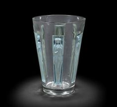 A René Lalique frosted and polished glass 'Goblet Six Figurines' vase ENGRAVED 'R.LALIQUE'; PRE 1945