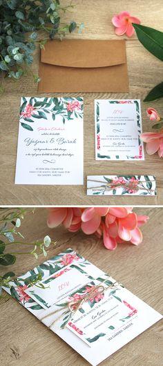 """Lovely Colors, özel tasarım düğün davetiyesi. lovely-colors.com iletisim@lovely-colors.com +90 533 473 73 36 Model adı: Kamboja, model no: D3813. Bali kültüründe adı """"Kamboja"""" olarak geçen, muhteşem kokulu Plumeria çiçeğinden ilham alarak tasarladığımız modern davetiye modeli. // Wedding stationary inspired by Plumeria (Frangipani) flower, which is known as """"Kamboja"""" in Balinese culture. Wedding After Party, Proposals, Diners, Wedding Invitations, Gift Wrapping, Wedding Ideas, Lettering, Weddings, Color"""