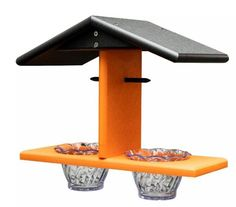 Recycled Poly Double Oriole Bird Feeder The birds are sure to visit this attractive poly feeder. Made with recycled plastic. Choose from 3 colors. #poly #birdfeeder