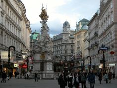 The Pestsäule (plague column) on the Graben, a street in the inner city of Vienna. Put up in 1693, it was built during the reign of Leopold I to commemorate all those who died of the plague during the 1670s. It's one of more significant high baroque sculptures within the city.