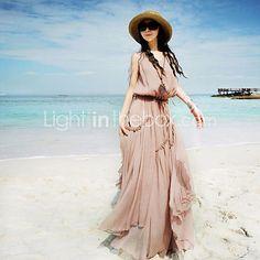 Women's Blue/Pink/White Dress , Beach Sleeveless - USD $24.99