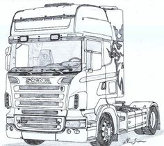 Scania r Check out this awesome design on Sketchbook Drawings, Car Drawings, Disney Drawings, Cartoon Drawings, Sous Bock, Truck Tattoo, Rendering Art, Benne, Lego Truck
