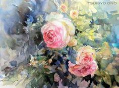 TSUKIYO ONO 水彩画... АКВАРЕЛЬНО ЦВЕТОЧНО ПЕЙЗАЖНОЕ...: rozenbum