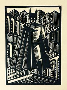 Bat-Man Linocut by WoodcutEmporium on Etsy Linocut Prints, Art Prints, Lino Art, I Am Batman, Scratchboard, Black White Art, Gravure, Art Plastique, Bat Man