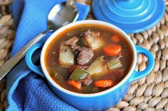 Slow Cooker Beef & Potato Vegetable Soup stew beef tomatoes with habanero a