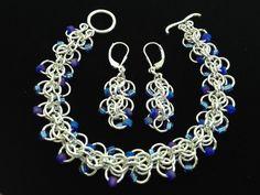 Sterling Silver Chain Mail, Blue Beaded Bracelet & Earrings Set (S7) by WindsweptGlass on Etsy https://www.etsy.com/listing/472120529/sterling-silver-chain-mail-blue-beaded