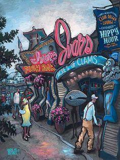 """Ivar's Pier 57 - Seattle"" Original painting on hardwood panel Chef Images, Seattle Art, Canvas Art, Canvas Prints, Giclee Print, Modern Art, Original Paintings, Fine Art, Stretcher Bars"
