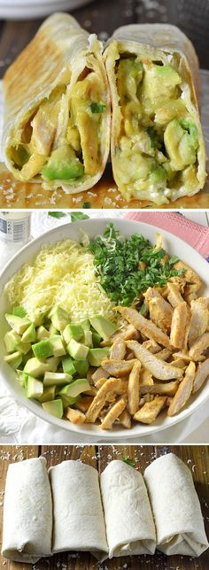 Baked Chicken Avocado Burritos. - Healthy and easy baked burritos that are stuffed with fresh avocados.