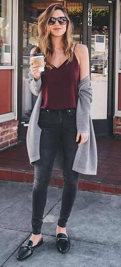 cool fall outfit / cardiagn + silk top + jeans + loafers
