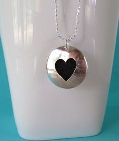 Sterling Silver Essential Oil Necklace with Large Heart by Quiet Time Jewelry