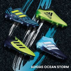 Fresh from adidas Soccer. The Ocean Storm pack. Get your shoes here > https://www.soccerpro.com/Adidas-Soccer-Shoes-c256/