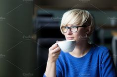 young pretty blonde drinking coffee by Izdebska on Business Photos, Business Outfits, Coffee Drinks, Drinking Coffee, Coffee Review, Office Images, Photoshop Effects, Stock Photos, Glasses