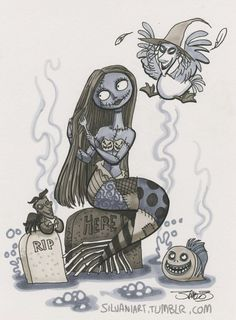 I found this image of the little mermaid inspired by Sally from The Nightmare Before Christmas by Tim Burton. Style Tim Burton, Art Tim Burton, Nightmare Before Christmas, Sally Nightmare, Jack Skellington, Art Disney, Disney Love, Fan Art, We All Mad Here