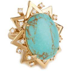 Lele Sadoughi Sunshine Ring Turquoise (17.130 RUB) ❤ liked on Polyvore featuring jewelry, rings, accessories, turquoise jewellery, cocktail jewelry, turquoise jewelry, cocktail rings and turquoise ring