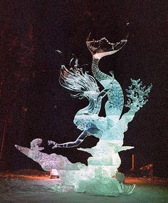 Mermaid ice sculpture