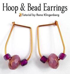 Hoop and Bead Earrings - tutorial by Rena Klingenberg