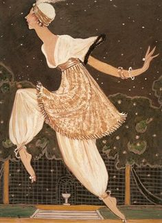 "Denise Poiret represented by Georges Lepape with the dress she worn in the ""1002nd night""."