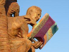 Reading material, Knitta Please strikes again. Berkeley, CA