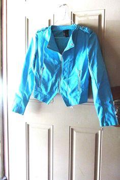 Bisou Bisou Michelle Bombat Teal Jacket Size Small #BISOUBISOU #BasicJacket