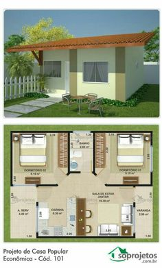 Project of Popular Economic House - Cod. 101 This popular house has a simple execution plan allowing economy and speed 3d House Plans, 2 Bedroom House Plans, Bungalow House Plans, House Blueprints, Dream House Plans, Small House Plans, Small House Design, Home Design Plans, House Layouts