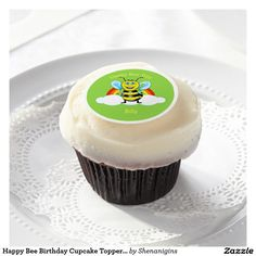 Happy Bee Birthday Cupcake Topper (Customizable)