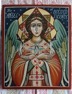 The Angel of Blessed Silence Handmade painting. Orthodox and byzantine icon, traditionally represented.