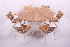 Retro Havemøbler - Rørvig 150 cm. Sæt med 6 stole