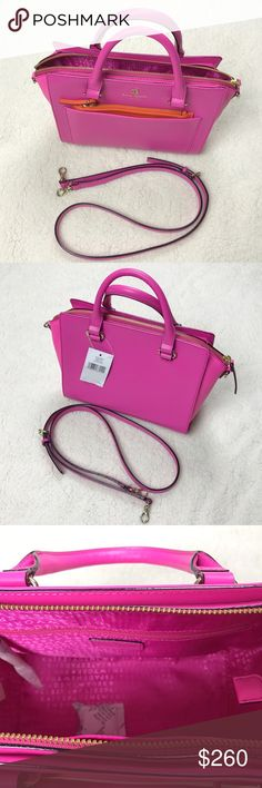 Kate Spade Mini Bernadine Handbag Hello and welcome to KimFinds. Please feel free to ask any questions, bundle, or make an offer. Note that item color may appear slightly different due to the screen settings on your phone or tablet. For sale is one Kate Spade mini bernadine in pink/orange. Dimensions are 11x7x5. New with tags. Bag may have very minor shelf wear from being handled in store. This bag also has a very slight nick in the handle as seen in the last photo. kate spade Bags Shoulder…