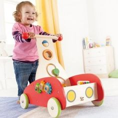 Wonder Walker Multi Activity Push Toy - Educational Toys Planet. Great gift for 12 months old child. Have tons of developmental fun with Hape Wonder Walker toddler activity toy, this unique busy box on wheels. Develops Skills - movement, large motor skills, manipulative skills, physical development, hand-eye coordination. #toys #learning #educational #gifts #child https://www.educationaltoysplanet.com/wonder-walker-multi-activity-push-toy.html