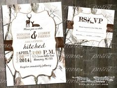 Hooked On Love Camo Wedding Invitation and RSVP Card by MrsPrint ...