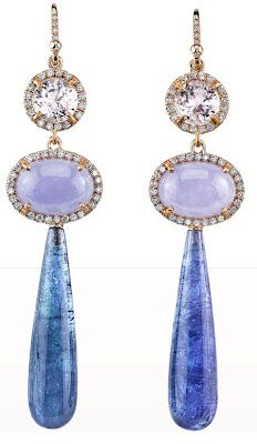 Irene Neuwirth Kunzite, Lavender Jade, Diamond & Tanzanite Drop Earrings. Via Diamonds in the Library.