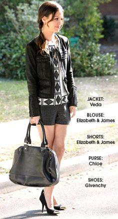 TV Fashion * Show: Hart of Dixie * Actress: Rachel Bilson * Character: Zoe Hart * Jacket: Veda * Blouse: Elizabeth & James * Shorts: Elizabeth & James * Purse: Chloe * Shoes: Givenchy
