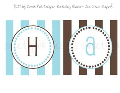 Happy Birthday Banner- Ice Cream Shoppe Collection for boys on Etsy, $6.50