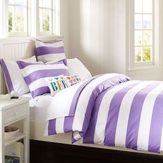 Cottage Stripe Duvet Cover + Sham #potterybarnteen this will be my new bed covers except for the colors are turquoise!!!:)