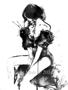 Love Romance Fashion Print from Original Watercolor by LanasArt