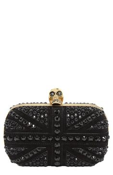 Stunning. Alexander McQueen Skull Crystal Leather Clutch