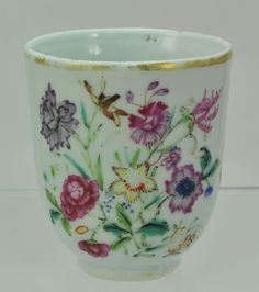Antique 18th Century Polychrome London Painted Chinese Export Coffee Cup c 1760 coffee cup is 2 1/2 inches tall by 2 3/8 inches wide. Condition: overall in good condition, with some wear on the glazes and gilded rim USA BIN £103