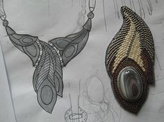 """by Businka, Bead Necklace """" Feather """" User Album nadkud February 25, 2015 , 2:14. Click the image to see more photos of this necklace. Site is in Russian."""
