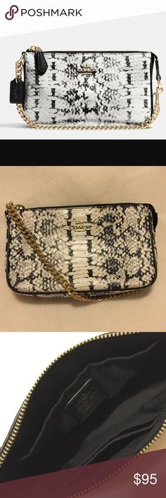 Coach Wristlet Snake skin black and white leather wristlet. Has two card slot inside. Plenty of room for on the go small items. Gently used!! Excellent Condition. Part of 2016 fall collection!! Coach Bags Clutches & Wristlets