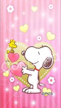 Snoopy and Woodstock With Lots of Hearts on Valentine's Day