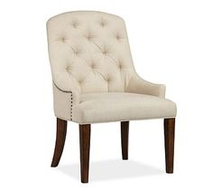Lorraine Armchair #potterybarn.  This chair would also suit the desk.  The tufted look is nice for a desk chair.