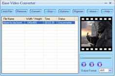 Ease Video Converter is a powerful media conversion engine internally so that you can convert media files with very fast speed. it convert video files from one format to anothe, it support AVI, DivX, XviD, MPEG, MPG, WMV, ASF, ASX, MOV, QT, DAT, VCD, RM format. With a very easy to use interface you can also convert video file. your work will become very easy. You only need to pay $22.95 to register the software. You'll convert video files without any limitation after registration.