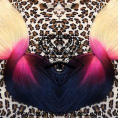 @a bambiii 's image matched platinum blonde to pink fuschia and black quadruple wefted, remy full head set