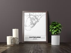 Black And White City, Black And White Posters, Black And White Wall Art, Brighton Map, Bathroom Artwork, England Map, City Map Poster, Map Wall Decor, Map Art